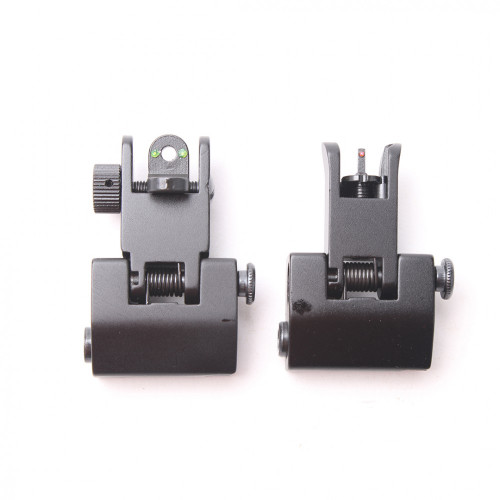 Alluminum Front and Rear Flip Up Sights Picatinny Weaver Red Green Fiber Optic Dot