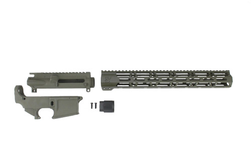 "MAGPUL OD GREEN CERAKOTE SET - UPPER RECEIVER / 80% LOWER RECEIVER / 15"" MLOK HANDGUARD"