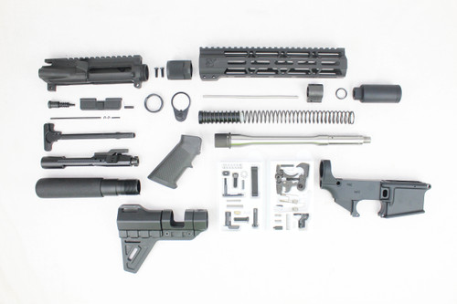 "Z16 'Operator Series' 10.5"" .223 Wylde Stainless Steel Barrel Pistol Kit / 1:7 Twist / 80% Anodized Lower Receiver / Trinity Brace / Zaviar Flash Can / 10"" M-LOK Handguard"