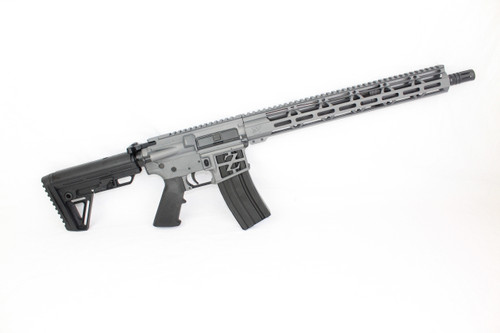 "ZAVIAR 16"" .223 WYLDE NITRIDE MATCH GRADE BARREL / MATCHING BOLT SNIPER GREY COMPLETE RIFLE / 1:8 TWIST / ALPHA STOCK / SKELETONIZED LOWER I 15"" MLOK HANDGUARD"
