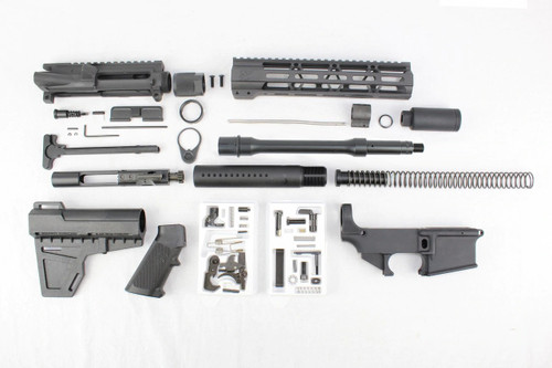 "ZAVIAR 10.5"" NITRIDE PISTOL BUILD KIT WITH 80% LOWER I 1:8 TWIST I KAK BRACE I FLASH CAN I 10"" MLOK HANDGUARD"