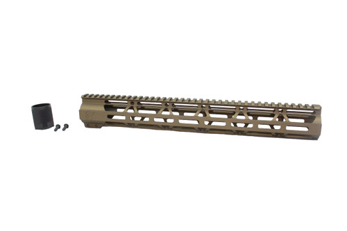 "ZAVIAR BURNT BRONZE CERAKOTED 15"" MLOK Free-Float Handguard AR-15"