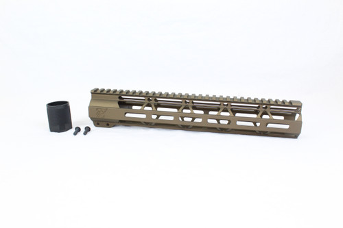 "ZAVIAR BURNT BRONZE CERAKOTED 12"" MLOK Free-Float Handguard AR-15"