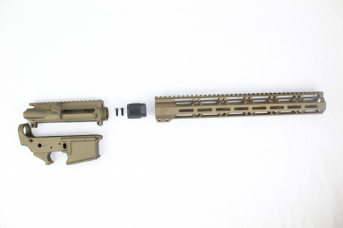 "Zaviar Burnt Bronze CERAKOTED AR15 Stripped Lower Receiver/ Upper Receiver/ 15"" MLOK Free-Float Handguard AR-15"