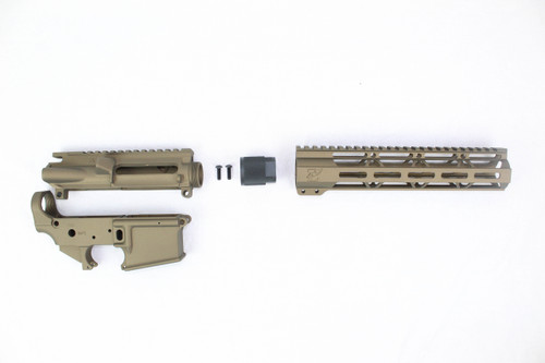 "Zaviar Burnt Bronze CERAKOTED AR15 Stripped Lower Receiver/ Upper Receiver/ 10"" MLOK Free-Float Handguard AR-15"