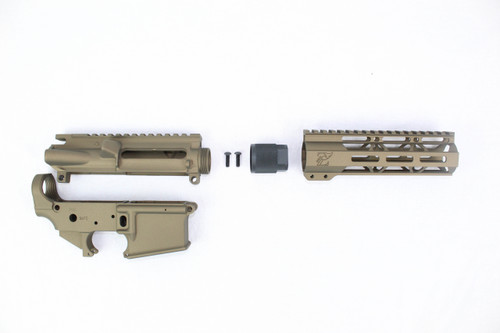 "Zaviar Burnt Bronze CERAKOTED AR15 Stripped Lower Receiver/ Upper Receiver/ 7"" MLOK Free-Float Handguard AR-15"