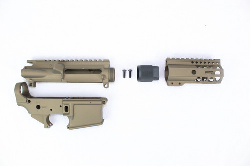 "Zaviar Burnt Bronze CERAKOTED AR15 Stripped Lower Receiver/ Upper Receiver/ 4"" MLOK Free-Float Handguard AR-15"