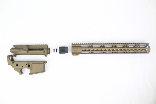 "Zaviar Burnt Bronze CERAKOTED AR15 Stripped Lower Receiver/ Upper Receiver/ 15"" KEYMOD Free-Float Handguard AR-15"