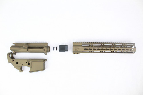 "Zaviar Burnt Bronze CERAKOTED AR15 Stripped Lower Receiver/ Upper Receiver/ 12"" KEYMOD Free-Float Handguard AR-15"