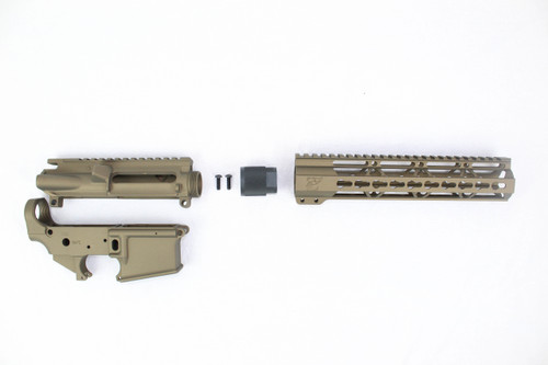 "Zaviar Burnt Bronze CERAKOTED AR15 Stripped Lower Receiver/ Upper Receiver/ 10"" KEYMOD Free-Float Handguard AR-15"