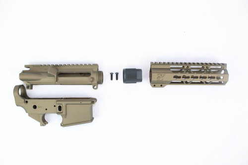 "Zaviar Burnt Bronze CERAKOTED AR15 Stripped Lower Receiver/ Upper Receiver/ 7"" KEYMOD Free-Float Handguard AR-15"