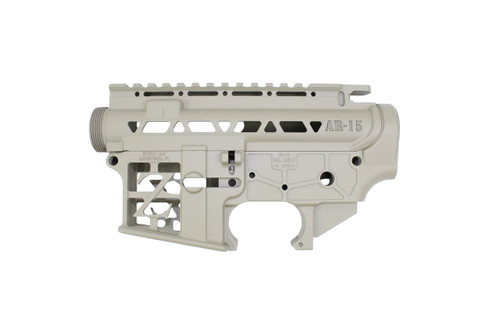 ZAVIAR BUNDLE / MAGPUL FDE CERAKOTED SKELETONIZED MIL-SPEC AR15 Stripped Lower Receiver & STRIPPED SKELETONIZED UPPER RECEIVER