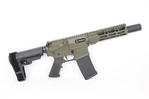 "AR9 ZAVIAR STINGER SERIES MAGPUL OD GREEN COMPLETE PISTOL 6.5"" 9mm NITRIDE / 1:10 TWIST / SBA3 BRACE / 7"" MLOK HANDGUARD"