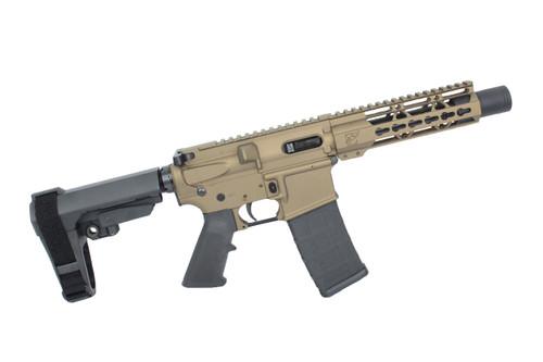 "AR9 ZAVIAR STINGER SERIES BURNT BRONZE COMPLETE PISTOL 5.5"" 9mm NITRIDE / 1:10 TWIST / SBA3 BRACE / 7"" KEYMOD HANDGUARD"