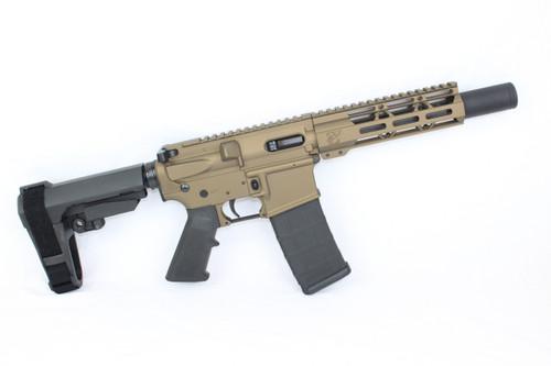 "AR9 ZAVIAR STINGER SERIES BURNT BRONZE COMPLETE PISTOL 6.5"" 9mm NITRIDE / 1:10 TWIST / SBA3 BRACE / 7"" MLOK HANDGUARD"