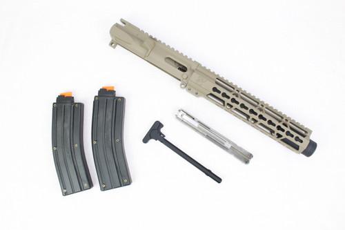 "Z22 'Spitfire Trainer' .22LR Assembled Upper Receiver MAGPUL FDE   9"" .22LR Barrel   10"" KeyMod Handguard   Flash Can   Stainless Steel Blowback BCG   x2 .22LR Polymer Magazines"