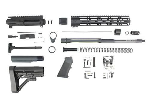"ZAVIAR 16"" .223 Wylde Black Wolf Straight Fluted Builder Kit / 1:8 TWIST / 12"" MLOK HANDGUARD"