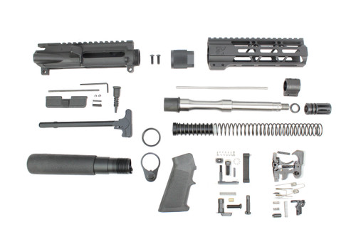 "ZAVIAR 8.5"" 5.56 STAINLESS STEEL M4 PISTOL BUILD KIT I 1:7 TWIST / A2 FLASH HIDER / 4"" MLOK HANDGUARD"
