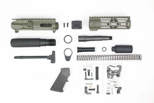 "AR9 - ZAVIAR 9mm 'STINGER PDW SERIES' (MAGPUL OD GREEN)BUILDER KIT / 4.5""-5.5"" NITRIDE 9MM / 1:10 TWIST / 7"" MLOK HANDGUARD"