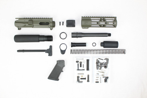 "AR9 - ZAVIAR 9MM 'STINGER PDW SERIES' (MAGPUL OD GREEN) BUILDER KIT /6.5""-7.5"" NITRIDE / 1:10 TWIST / 7"" MLOK HANDGUARD"
