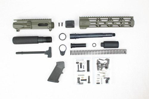 "AR9 - ZAVIAR 9MM 'STINGER PDW SERIES' (MAGPUL OD GREEN) BUILDER KIT /7.5""-8.5"" NITRIDE / 1:10 TWIST / 10"" MLOK HANDGUARD"