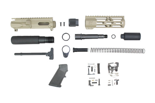 "AR9 - ZAVIAR 9mm 'STINGER PDW SERIES' (MAGPUL FDE)BUILDER KIT / 4.5""-5.5"" NITRIDE 9MM / 1:10 TWIST / 7"" MLOK HANDGUARD"
