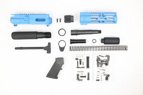 "AR9 - ZAVIAR 9mm 'STINGER PDW SERIES' (SEA BLUE)BUILDER KIT / 4.5""-5.5"" NITRIDE 9MM / 1:10 TWIST / 6.5"" MLOK HANDGUARD"