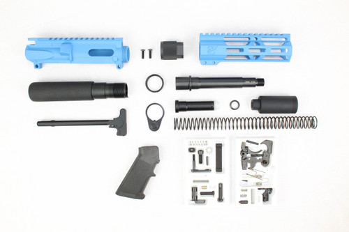 "AR9 - ZAVIAR 9MM 'STINGER PDW SERIES' (SKY BLUE) BUILDER KIT / 5.5""-6.5"" NITRIDE / 1:10 TWIST / 6.5"" MLOK HANDGUARD"