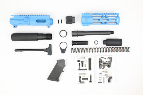 "AR9 - ZAVIAR 9MM 'STINGER PDW SERIES' (SKY BLUE) BUILDER KIT /6.5""-7.5"" NITRIDE / 1:10 TWIST / 6.5"" MLOK HANDGUARD"