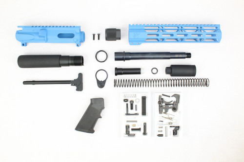 "AR9 - ZAVIAR 9MM 'STINGER PDW SERIES' (SEA BLUE) BUILDER KIT /7.5""-8.5"" NITRIDE / 1:10 TWIST / 10"" MLOK HANDGUARD"