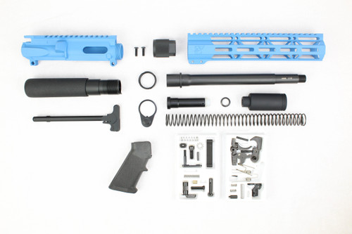 "AR9 - ZAVIAR 9MM 'STINGER PDW SERIES' (SKY BLUE) BUILDER KIT /9.5""-10.5"" NITRIDE / 1:10 TWIST / 10"" MLOK HANDGUARD"
