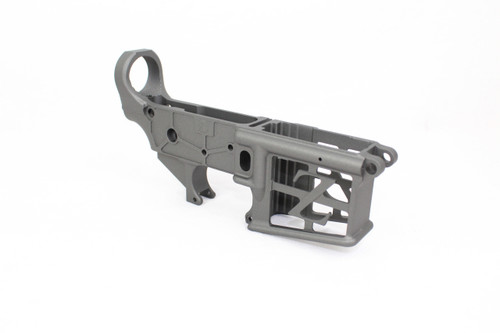 ZAVIAR TUNGSTEN GREY CERAKOTED SKELETONIZED MIL-SPEC AR15 Stripped Lower Receiver