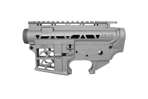 ZAVIAR BUNDLE / (TUNGSTEN GREY) CERAKOTED SKELETONIZED MIL-SPEC AR15 Stripped Lower Receiver & STRIPPED SKELETONIZED UPPER RECEIVER