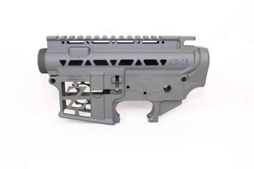 ZAVIAR BUNDLE / (SNIPER GREY) CERAKOTED SKELETONIZED MIL-SPEC AR15 Stripped Lower Receiver & STRIPPED SKELETONIZED UPPER RECEIVER