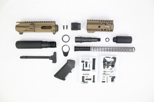 "AR9 - ZAVIAR 9MM 'STINGER PDW SERIES' (BURNT BRONZE) BUILDER KIT / 3.5""-4.5"" NITRIDE / 1:10 TWIST / 4"" MLOK HANDGUARD"