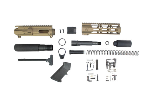 "AR9 - ZAVIAR 9MM 'STINGER PDW SERIES' (BURNT BRONZE) BUILDER KIT / 4.5""-5.5"" NITRIDE / 1:10 TWIST / 7"" MLOK HANDGUARD"