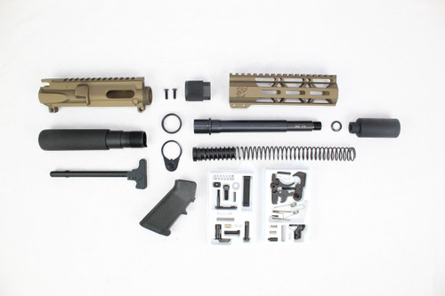 "AR9 - ZAVIAR 9MM 'STINGER PDW SERIES' (BURNT BRONZE) BUILDER KIT / 7.5""-8.5"" NITRIDE / 1:10 TWIST / 7"" MLOK HANDGUARD"