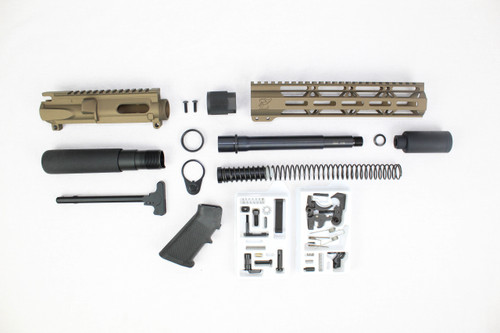 "AR9 - ZAVIAR 9MM 'STINGER PDW SERIES' (BURNT BRONZE) BUILDER KIT / 7.5""-8.5"" NITRIDE / 1:10 TWIST / 10"" MLOK HANDGUARD"