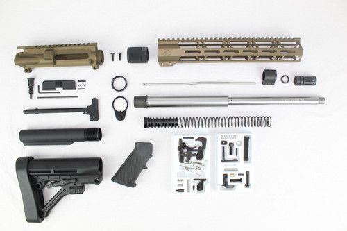 "ZAVIAR AR-47 7.62x39 'Wolverine Series' 16"" STAINLESS STEEL / BURNT BRONZE BUILDER KIT / 12"" MLOK HANDGUARD"