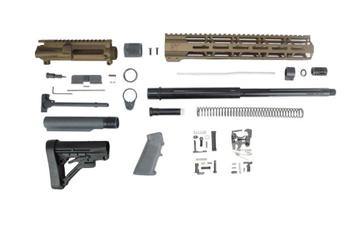 "7.62 x 39 'Wolverine Series' Burnt Bronze 16"" Straight Fluted Nitride Builder Kit / 1:10 Twist / 12"" MLOK Handguard"