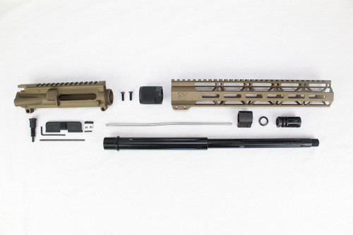 "ZAVIAR 16"" 7.62x39 STRAIGHT FLUTED NITRIDE BURNT BRONZE CARBINE UPPER KIT / 1:10 TWIST /12"" MLOK HANDGUARD"