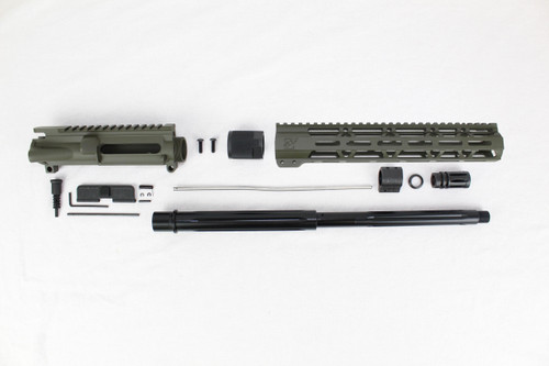 "ZAVIAR 16"" 7.62x39 STRAIGHT FLUTED NITRIDE MAGPUL OD GREEN CARBINE UPPER KIT / 1:10 TWIST /12"" MLOK HANDGUARD"