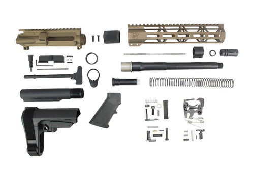 "ZAVIAR 10.5"" NITRIDE 300AAC BLACKOUT BURNT BRONZE BUILDER KIT / 1:8 TWIST / SBA3 BRACE / 10"" MLOK HANDGUARD"
