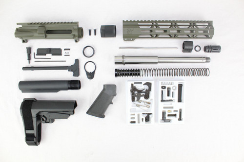 "ZAVIAR 10.5"" STAINLESS STEEL 300AAC BLACKOUT MAGPUL OD GREEN BUILDER KIT / 1:8 TWIST / SBA3 BRACE / 10"" MLOK HANDGUARD"