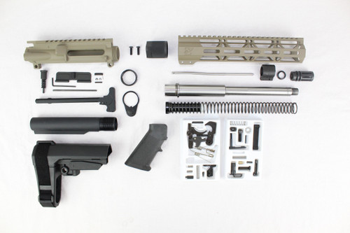 "ZAVIAR 10.5"" STAINLESS STEEL 300AAC BLACKOUT MAGPUL FDE BUILDER KIT / 1:8 TWIST / SBA3 BRACE / 10"" MLOK HANDGUARD"