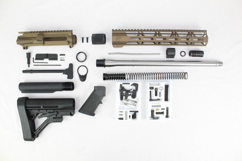 "ZAVIAR 16"" STAINLESS STEEL 300AAC BLACKOUT BURNT BRONZE BUILDER KIT / 1:8 TWIST / PREDATOR STOCK / 12"" MLOK HANDGUARD"