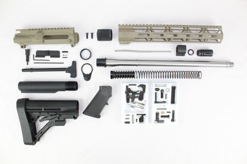 "ZAVIAR 16"" STAINLESS STEEL 300AAC BLACKOUT MAGPUL FDE BUILDER KIT / 1:8 TWIST / PREDATOR STOCK / 12"" MLOK HANDGUARD"