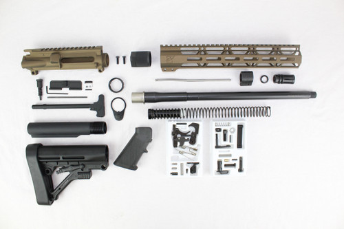 "ZAVIAR 16"" NITRIDE 300AAC BLACKOUT BURNT BRONZE BUILDER KIT / 1:8 TWIST / PREDATOR STOCK / 12"" MLOK HANDGUARD"