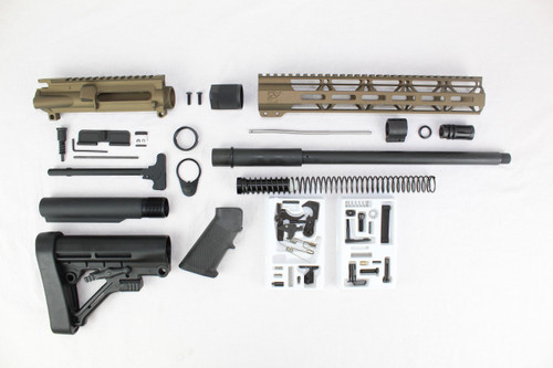"ZAVIAR 16"" PARKERIZED 300AAC BLACKOUT BURNT BRONZE BUILDER KIT / 1:8 TWIST / PREDATOR STOCK / 12"" MLOK HANDGUARD"