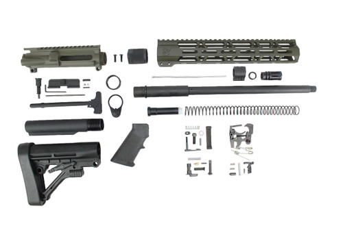 "ZAVIAR 16"" PARKERIZED 300AAC BLACKOUT MAGPUL OD GREEN BUILDER KIT / 1:8 TWIST / PREDATOR STOCK / 12"" MLOK HANDGUARD"